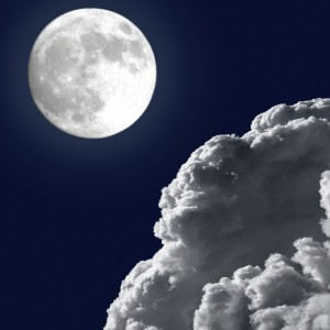 full moon and storm clouds